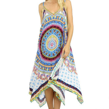 GYPSY GEM ASYMMETRICAL SCARF PRINT DRESS - MULTI