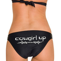 Cowgirl Up Barbwire Black Bikini Top and Bottom