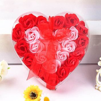 New fashion high quality 24Pcs Heart Scented Bath Body Petal Rose Flower Soap Wedding Decoration Gift Paper Fancy Soap Anne