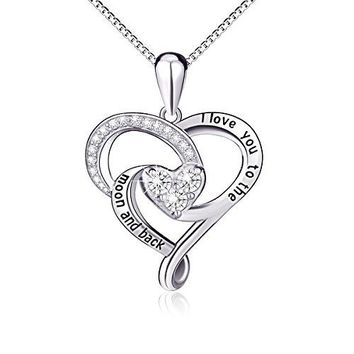 "AUGUAU 925 Sterling Silver Jewelry ""I Love You To The Moon and Back"" Love Heart Pendant Necklace"