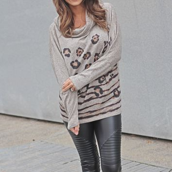 On The Line Mocha Leopard Top