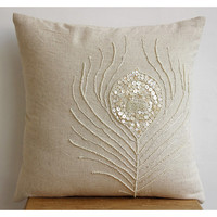 Decorative Throw Pillow Covers Accent Couch Toss Sofa Pillows 20x20  Linen Mother Of Pearl Embroidered Pillow Case Pearly Peacock Feather