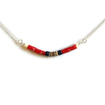 Red Coral Lapis Lazuli Bar Necklace Coral Necklace Layering Necklace Bohemian Necklace Sterling Silver Coral Lapis Beach Necklace