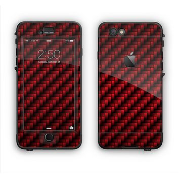 The Glossy Red Carbon Fiber Apple iPhone 6 Plus LifeProof Nuud Case Skin Set