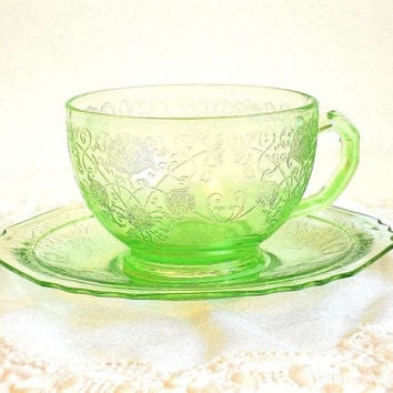 Antique 1930's Florentine Poppy no. 1 Hazel Atlas Green Depression Glass teacup & saucer set, tea cup, vintage tea party set,