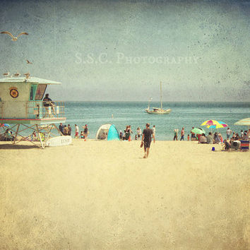 Vintage Beach photo. Santa Cruz California. Summer scene. beach house decor. retro photography. blue. sad. people. ocean. beach boardwalk.