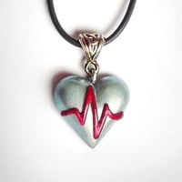 ECG heart pendant - Heart disease awareness necklace, get well gift, symbolic jewelry