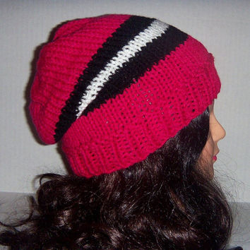 Knit striped hat Hot Pink, black and white, Spring accessories, Womans Hat