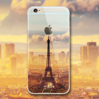 City Mountain Flower Transparent Clear Cover Case for iPhone 6 6s Plus Capa Fundas Crystal TPU Soft Cases for iPhone 6s Coque