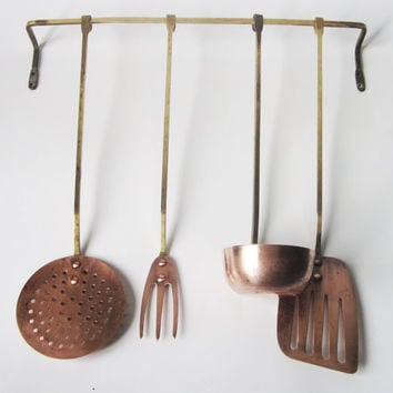 Copper and Brass Utensil Set - Portugese Vintage
