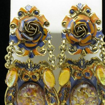 Vintage Haute Couture ZOE COSTE Made in France Glass Enamel 3.5 Dangle Clip Earrings
