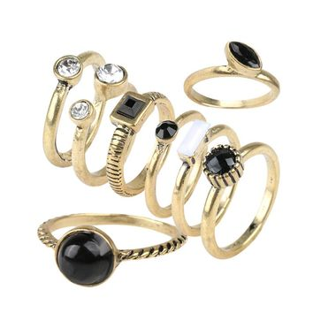 8pcs/sets Vintage Finger Ring Black Resin White Crystal Gold Color Jewelry Fashion Rings For Women 2017 Hot