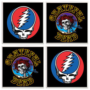 Grateful Dead Coasters, grateful dead stuff, grateful dead decor, dead head fan, tile coasters, rock star coasters, man cave, studio decor