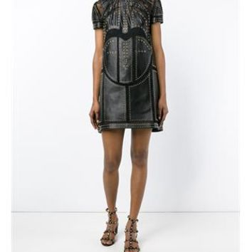 VALENTINO | Studded Leather & Lace Dress | Womenswear | Browns Fashion