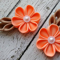 Flower Hair Clips for Toddlers ~ Handmade Peach & Tan Kanzashi Flower Hair Clips ~ Fancy Kanzashi Pigtails ~ Back to School Gift for Girls
