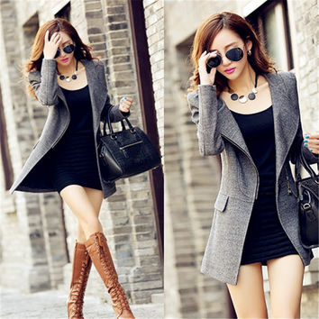 Winter New Women Fashion Slim Long Section Double-sided Woolen Jacket Overcoat = 1929988996