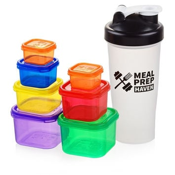 Meal Prep Haven 7 Piece Multi-Colored Portion Control Container Kit with Guid...