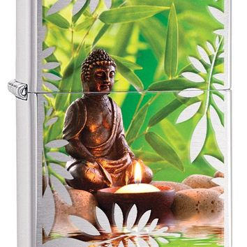 Zippo Buddha Garden Tranquil Statue Lighter Brushed Chrome