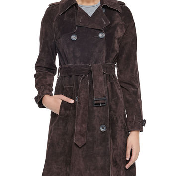 Suede Belted Trench