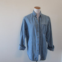 Vintage Levi Denim Shirt Button Down Collar Long Sleeve Levi Shirt Jacket Womens Size Small