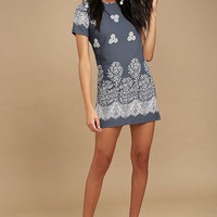 Riverside Slate Blue Floral Print Shift Dress