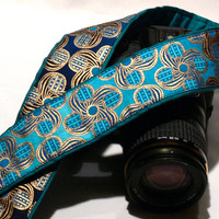 dSLR Camera Strap. Gold Blue Camera Strap. Camera Accessories