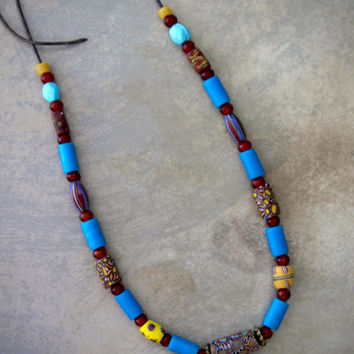 Colorful African Trade Bead Necklace w Venetian Millefiore and Bright Blue Naga Glass Beads on Leather Tribal Boho Ethnic Jewelry