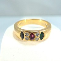 18K solid gold heavy ring with natural diamonds and navette ruby, sapphire and emerald French fine jewelry