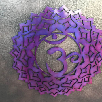 Purple Crown Chakra Metal Wall Art - Purple Art - Yoga Art - Home Decor - Wall Decor - Metal Art