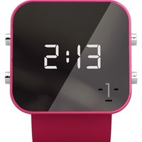 1:Face 'Breast Cancer' Square Digital Silicone Strap Watch, 38mm