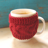 Knit coffee mug cozy with cable pattern, hand knitted, cherry red