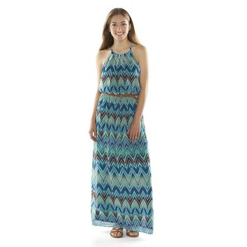 Lily Rose Chevron Halter Juniors' Maxi Dress, Size: