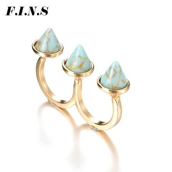 F.I.N.S Unique Punk Women Two Finger Rings for Women Geometric Faux Marble Stone Fashion Jewelry Gold Color Double Rings Anel