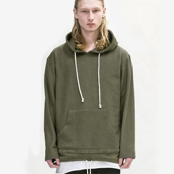 Double Layer Reversed French Terry Hoodie in Dark Olive