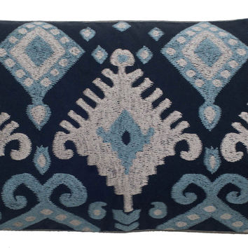 "Embroidered Satin backing fabric Navy Pillow Cover (11"" x 21"")"