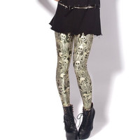 Splatter Skull Print Legging Digital Galaxy Printed Leggings Punk Rocker Yoga Pants
