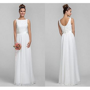 Olesa 2016 hot Ivory white Bateau Scalloped Sleeveless Column Floor-length Sash/Ribbon Lace Chiffon A-Line Bridesmaid Dresses