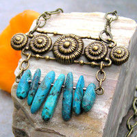 Turquoise Gemstone Modern Vintage Fan Necklace