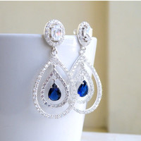 35% Off Sale Bridal Earrings Blue Sapphire CZ Halo Oval Teardrop CZ Silver Chandelier Earrings Studs BE11-B