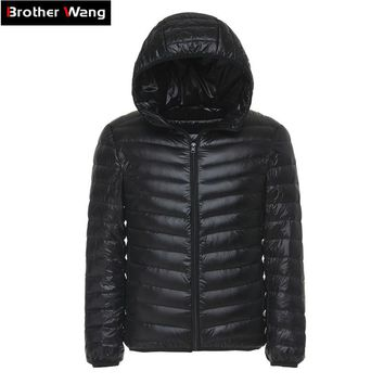 6 Colors Winter Men's Light Down Jacket Clothes Fashion Casual Hooded Warm White Duck Down Coat Male Brand Clothing