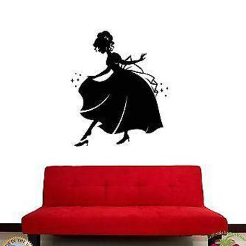 Wall Stickers Vinyl Decal Cinderella Girl In Night Gown Fairytale  Unique Gift (z1890)