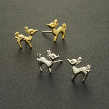 Deer Stud Earrings / doe earrings, bambi earrings, animal jewelry, gifts for her, simple deer earrings / E047