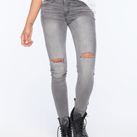 Flying Monkey Knee Slit Womens Skinny Jeans Grey  In Sizes