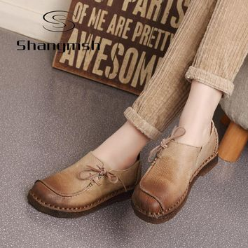 Shangmsh Handmade vintage women shoes genuine leather female moccasins loafers soft Co