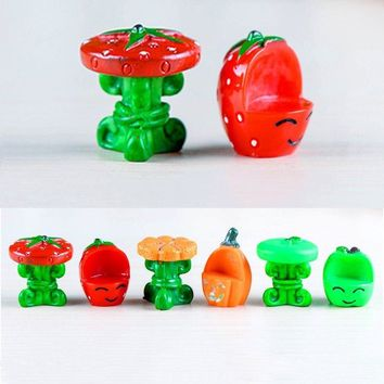 2pcs Bonsai Tools Terrarium Figurines Home Accessories Fairy Garden Miniatures Resin Craft Pumpkin Strawberry Apple Table Chair