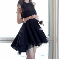 Black High Neck Mesh Ruffle Dress