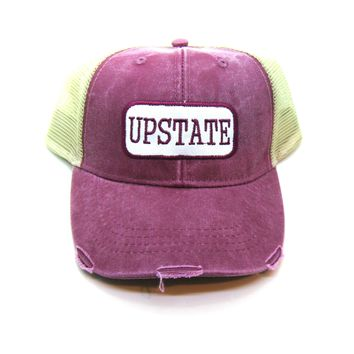 Upstate New York Trucker Hat - Black Distressed Snapback