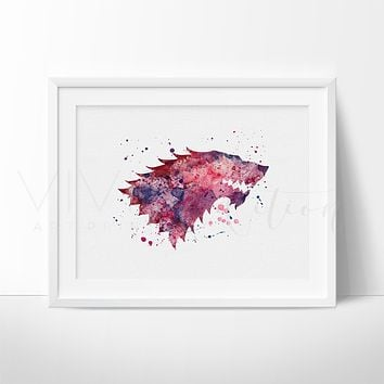 Game of Thrones, Stark House Crest 2 Watercolor Art Print