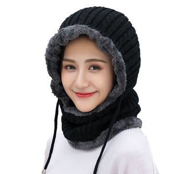d997af8c0aef2 Winter wool Knitted Hat Beanie Men Scarf Skullies Beanies Winter