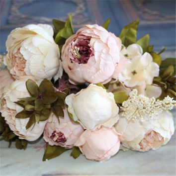 ac NOOW2 Artificial Flowers Silk flower European Fall Vivid Peony Fake Leaf Wedding Home Party Decoration